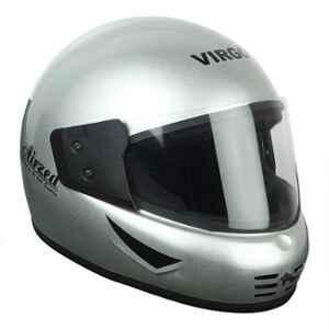 Virgo Airzed Full Face Silver Glossy Clear Helmet, Size (Medium, 58 cm)