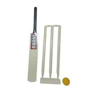 Arnav Cream Junior Wooden Cricket Kit with 27 inch Bat for 6-7 Years Kids