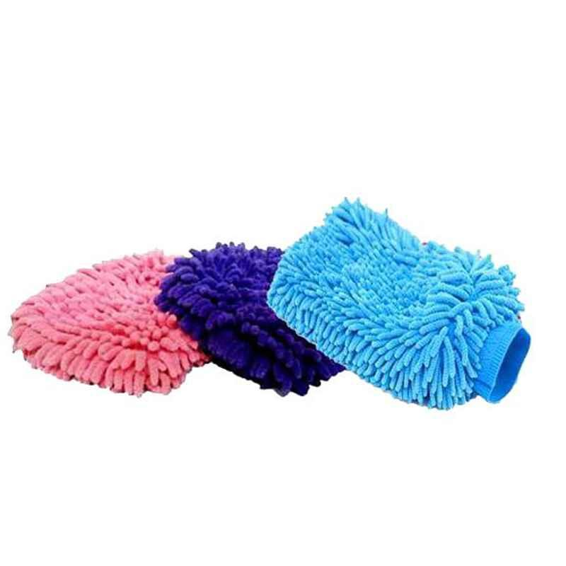 Love4ride 3 Pcs Medium Size Microfiber Glove Mitt Set for Car Cleaning & Washing