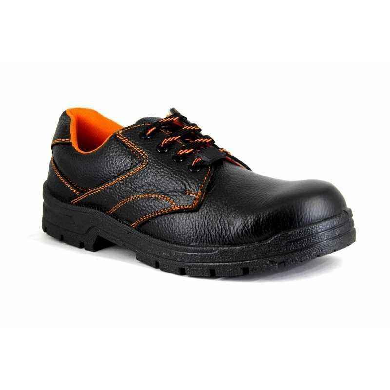 JK Steel Leather Steel Toe Black Safety Shoes, JKPI015BLK9, Size: 9