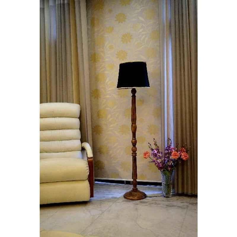 Tucasa Mango Wood Brown Floor Lamp with Black Cylindrical Polycotton Shade, WF-11