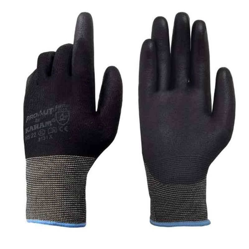 Karam HS-22 PU Black Hand Gloves, Size: M (Pack of 10)