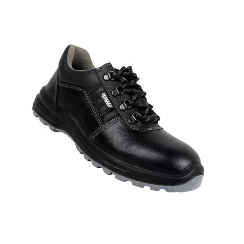 Coffer Safety M1024 Leather Steel Toe Black Safety Shoes, 82342, Size: 10