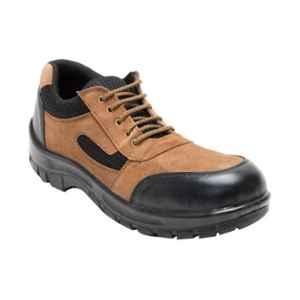 Stepstrong Leopard Leather Steel Toe Brown Safety Shoes, Size: 6