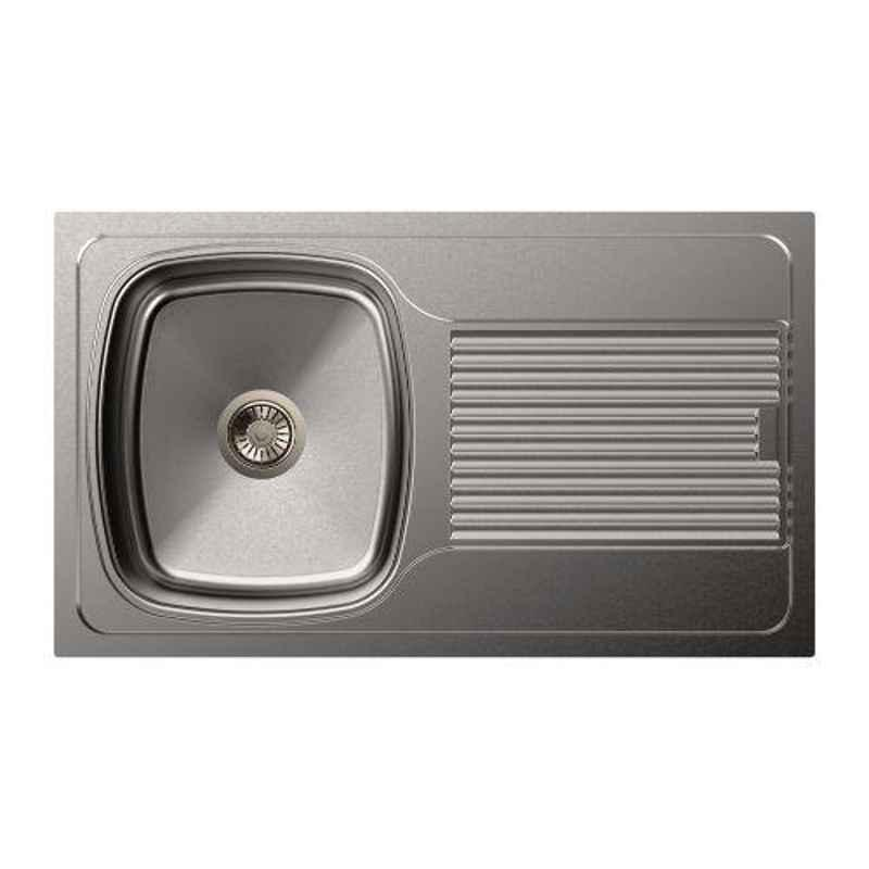 Carysil Vogue Single Bowl Stainless Steel Matt Finish Kitchen Sink with Drainer, Size: 34x20x8 inch