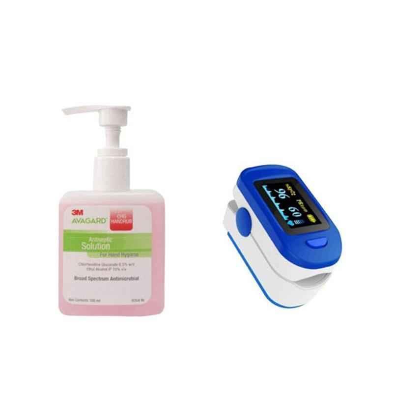 3M Avagard 100ml CHG Handrub (Pack of 2) & FS10C Blue & White Fingertip Pulse Oximeter Combo