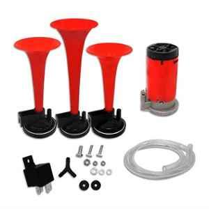AllExtreme EXCAHR3 12V Red Air Horn with Air Compressor, Attachment Screws & Brackets