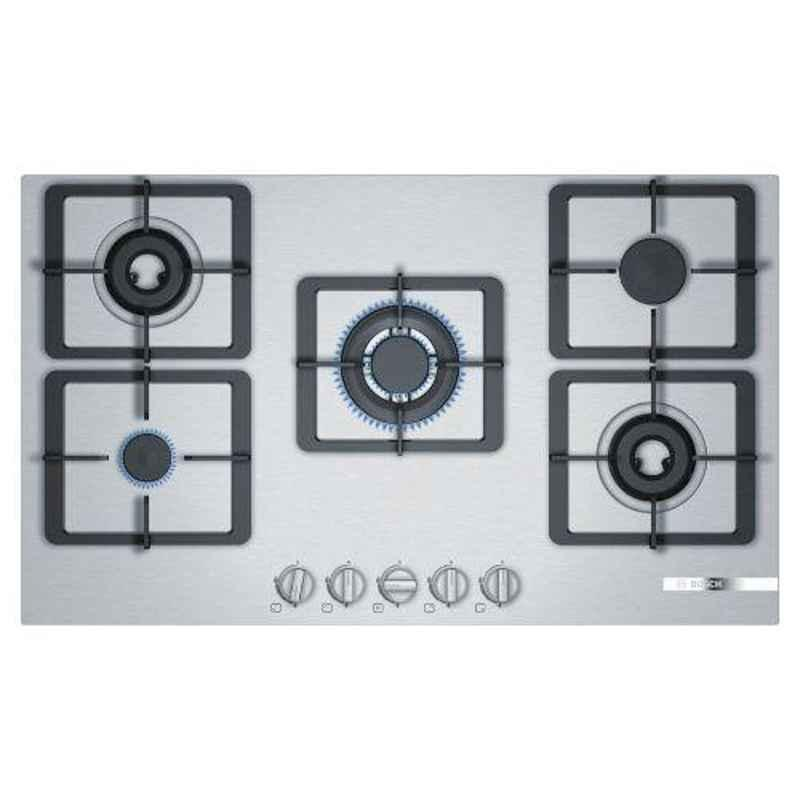 Bosch Serie-4 90cm 5 Burner Stainless Steel Gas Hob with Auto Ignition Knob, PCQ9O5B10I