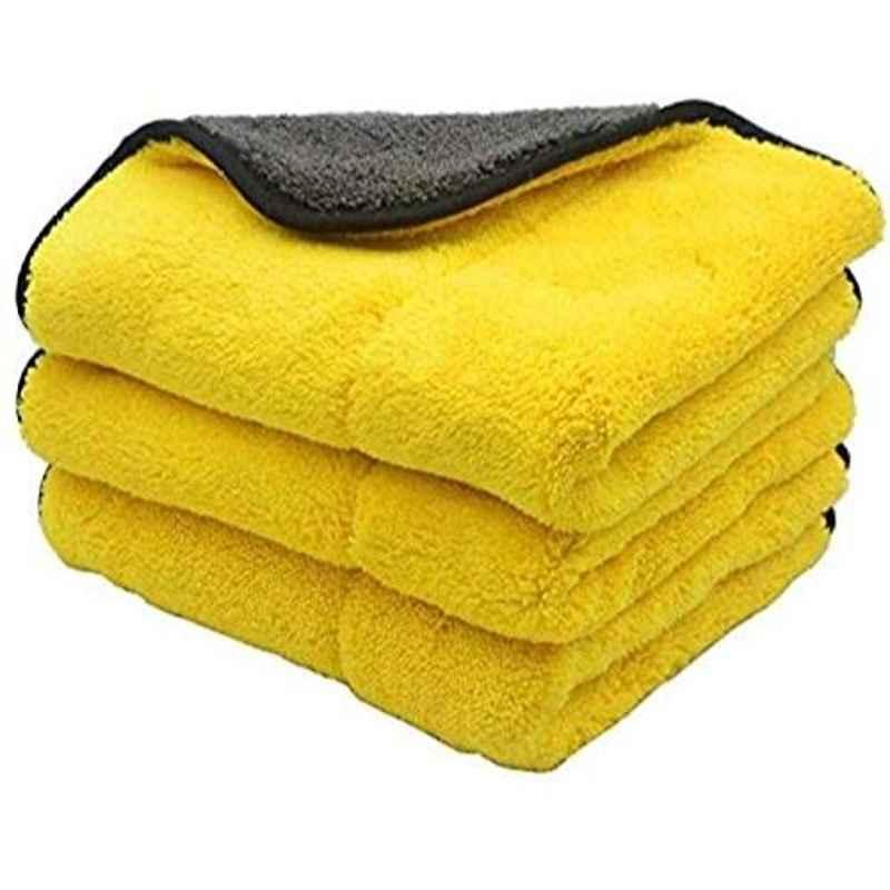 Viva City Yellow & Black Microfiber & Cotton Dual Sided Extra Thick Plush Car Cleaning Cloth, (Pack of 3)