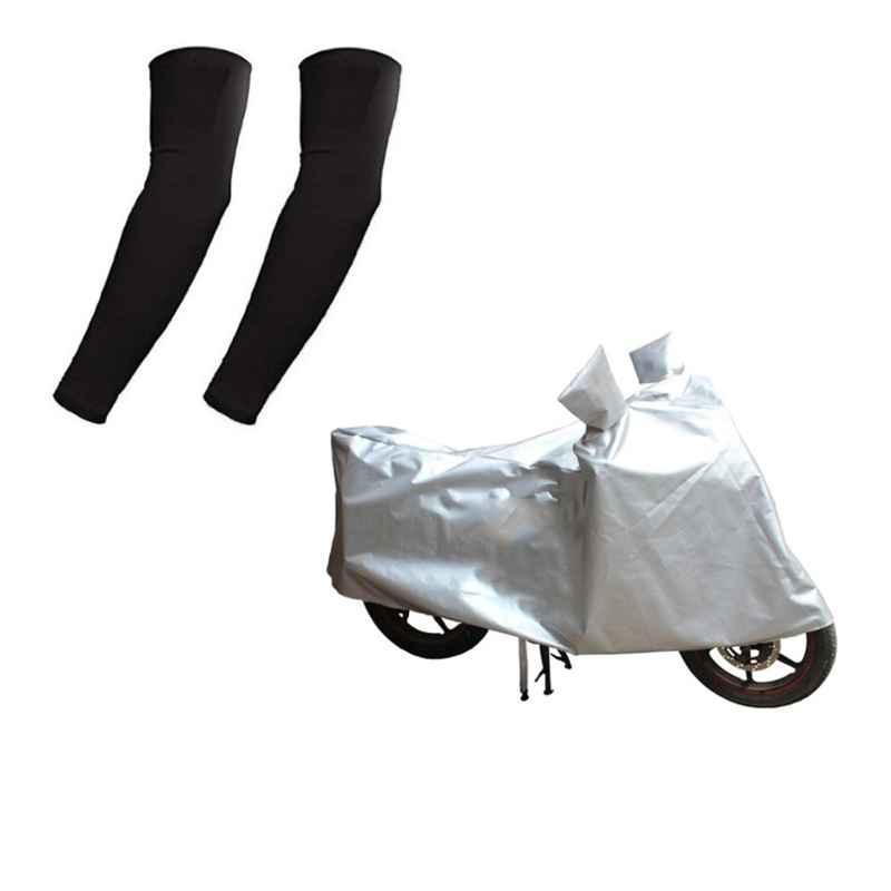 HMS Silver Bike Body Cover for Honda Dream Yuga with Free Size Nylon Black Arm Sleeves