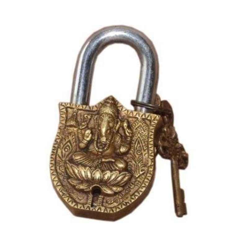Smart Shophar 4 inch Brass & Steel Yellow Ganesha Padlock, SLK18PD-GANE-YL04-P1