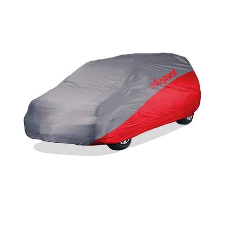Elegant Grey & Red Water Resistant Car Body Cover for Mahindra Marazzo
