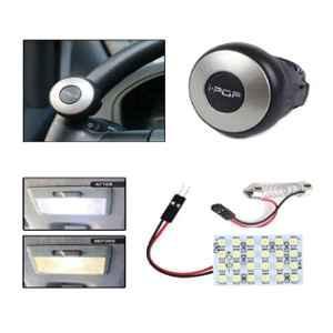 Viva City I-POP Silver & Black Plastic Mini Steering Wheel With Roof Light For All Cars