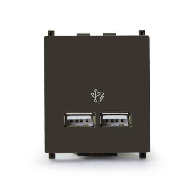 Schneider Zencelo 2.1A 2 Module Dark Grey USB Charger, IN8432USB_BZ (Pack of 5)