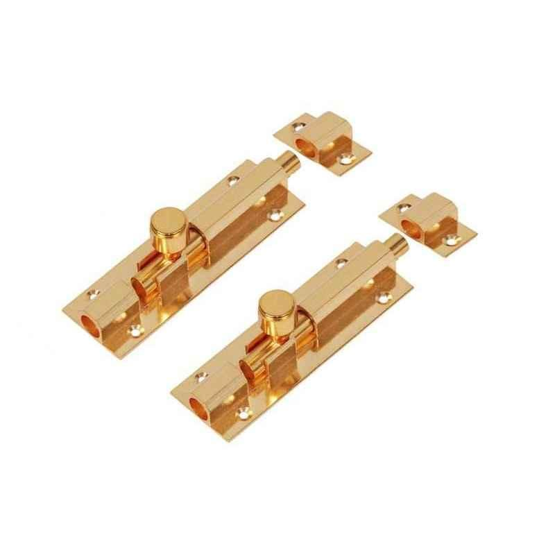 Smart Shophar 4 inch Brass Gold Hex Tower Bolt, SHA10TW-HEX-GL04-P2 (Pack of 2)
