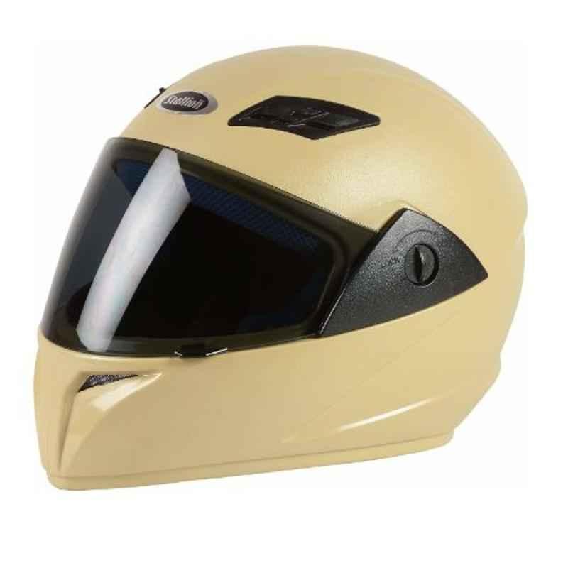 Stallion BLK Vento Plus Khaki Full Face Bike Helmet, Size: M