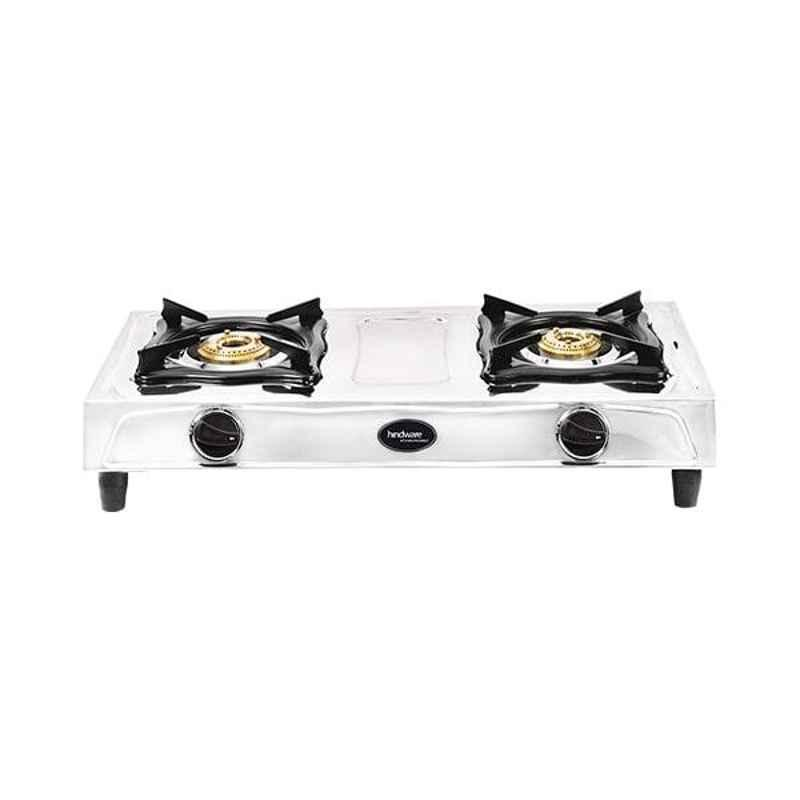 Hindware Tino SS DLX 2B 2 Burner Silver Manual Ignition Stainless Steel Gas Stove