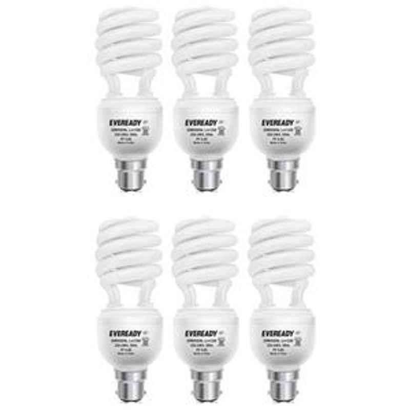 Eveready 20W Spiral 6Pcs HPF White CFL Bulb