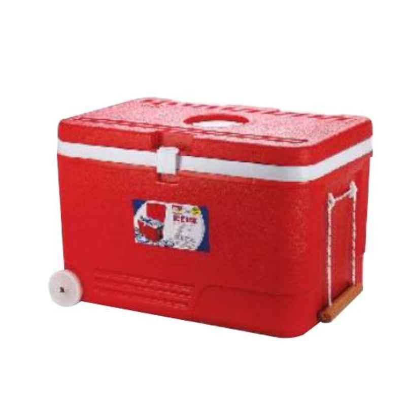 Aristo 110L Red Plastic PUF Insulated Ice Box with Wheel