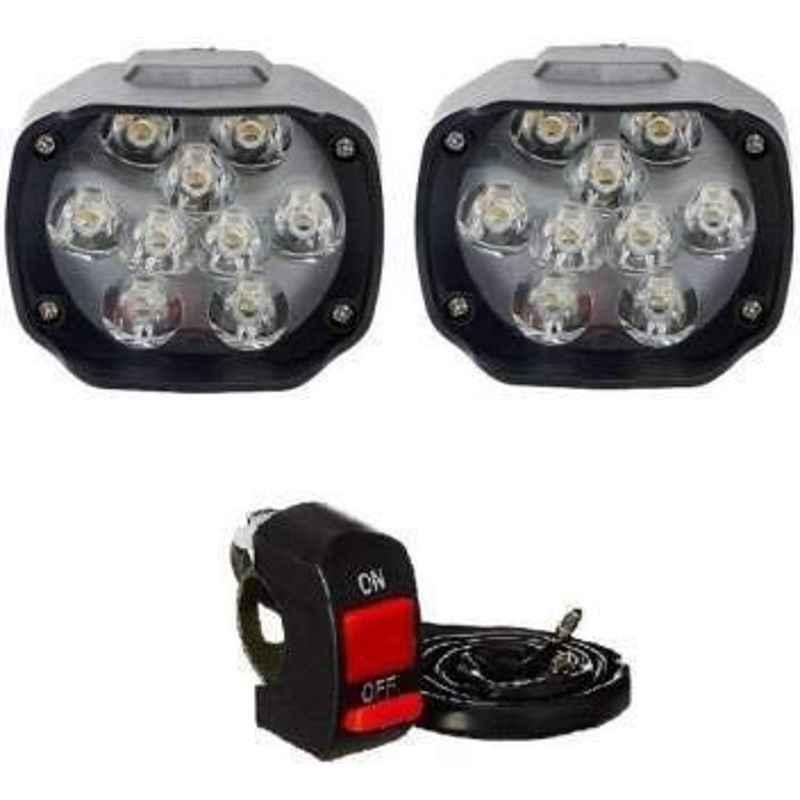 RA Accessories 2Pc 9 LED 15W Universal Bike Car Fog Bar Light & On/Off Switch Set