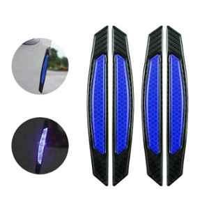 AllExtreme EXCDP1B 4 Pcs Blue Warning Reflector Night Door Protector Anti-Scratch Strip Decal Sticker Set