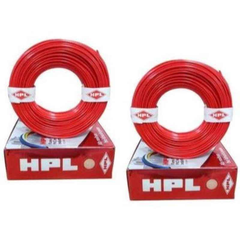 HPL 1mm Red PVC Wire, Length: 100 m (Pack of 2)
