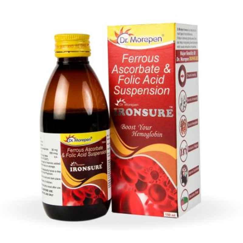 Dr. Morepen 150ml Ironsure Folic Acid Supplement Hemoglobin Booster Syrup