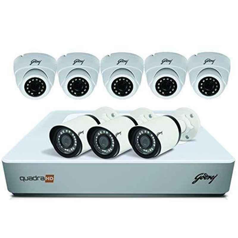 Godrej SeeThru 8 Channel Full HD White CCTV Camera Kit with 1TB Hard Disk, 4MP8CH5D3B1TBHD
