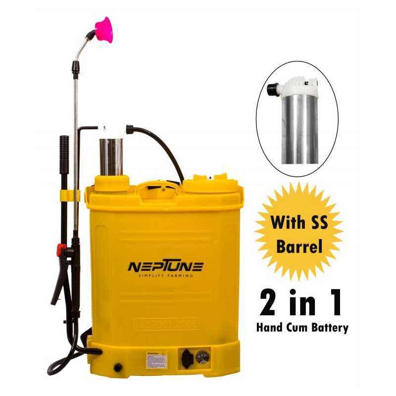 Neptune 16 Litre Yellow Battery Operated Knapsack Garden Sprayer, BS-21 Plus
