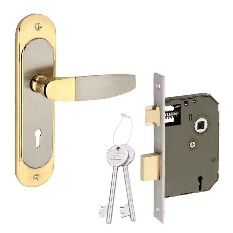 Sardar 8 Inch Silver & Gold Mortise Door Lock Set, BMH 322