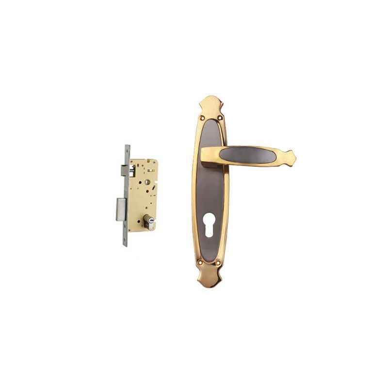 Plaza Kia Gold Silver Finish Handle with 250mm Pin Cylinder Mortice Lock & 3 Keys