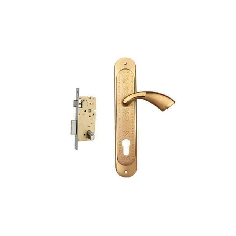 Plaza Superb Gold Plated Finish Handle with 250mm Pin Cylinder Mortice Lock & 3 Keys