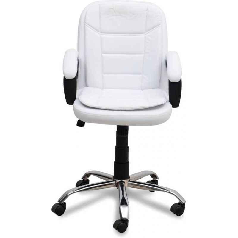 Mezonite Medium Back Leatherette White Office Chair