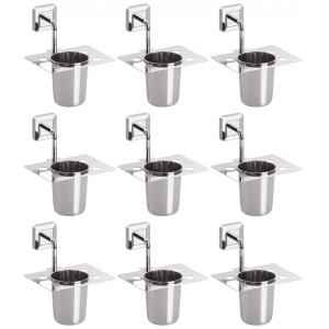 Abyss ABDY-1117 Glossy Finish Stainless Steel Tooth Brush Holder (Pack of 9)