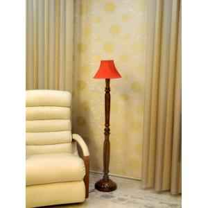 Tucasa Vintage Wooden Lamp with Red Pleated Shade, LG-952