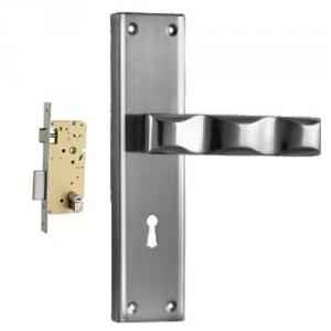 Plaza Victoria Stainless Steel Finish Handle with 250mm Pin Cylinder Mortice Lock & 3 Keys