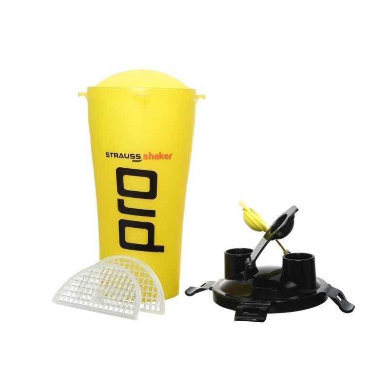 Strauss Acrylic Plastic Yellow Dual Shaker Pro Bottle, Capacity: 700 ml