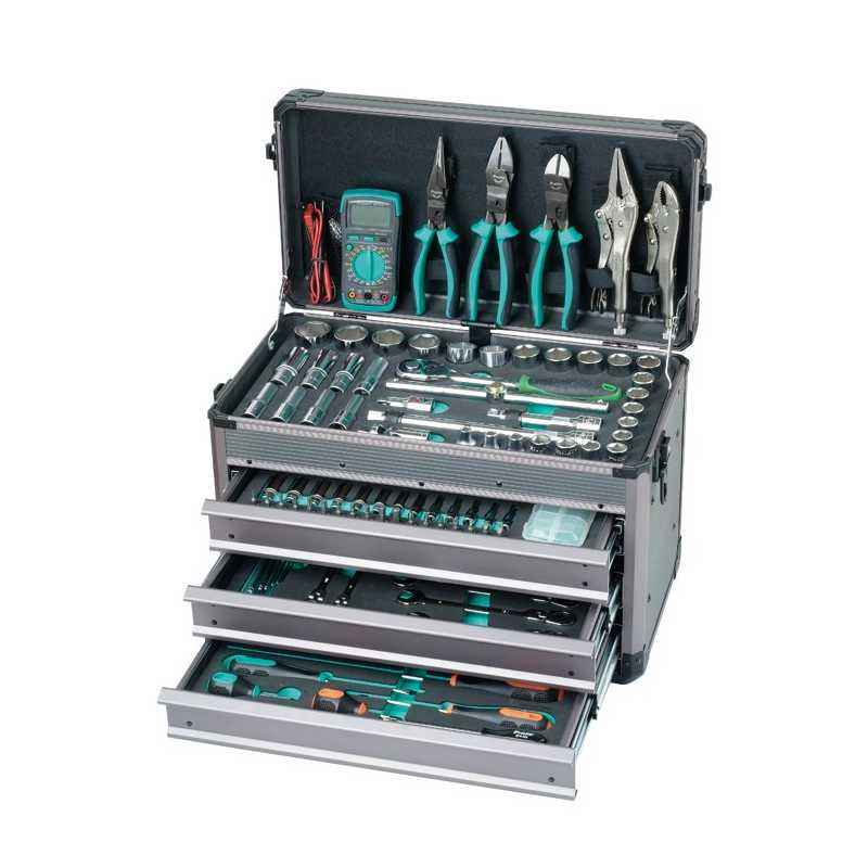 Proskit SK-612401M 124Pcs 1/2 Inch.1/4 Inch Driver Socket Tool Set
