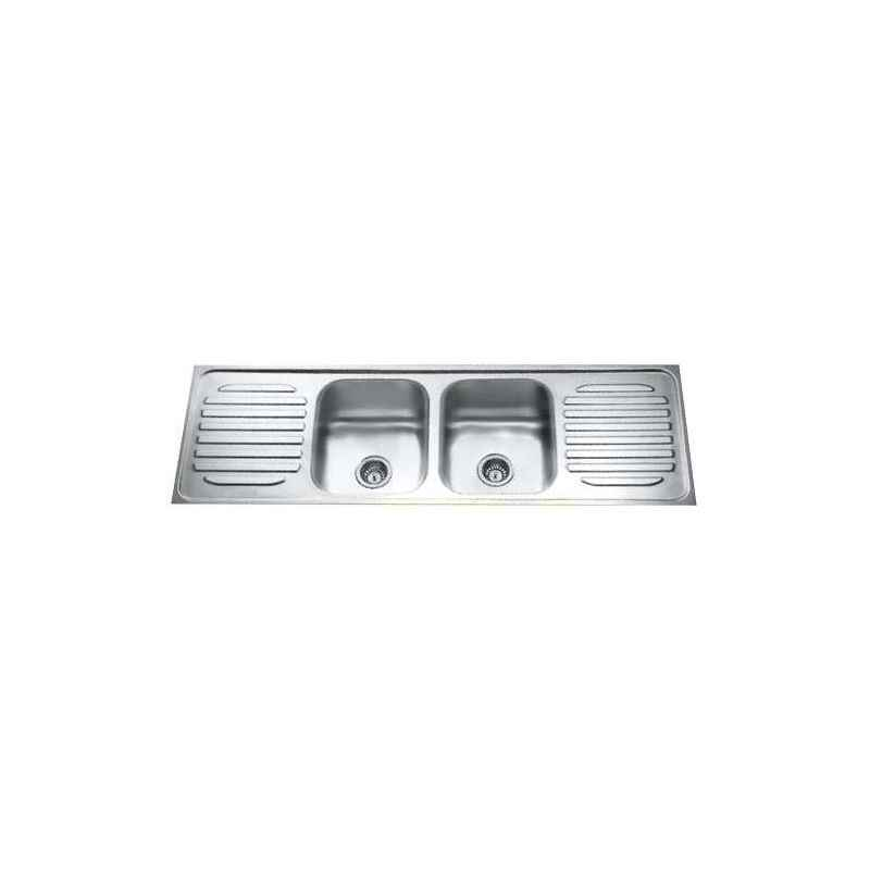 Jayna Venus DBDD 01 Glossy Double Bowl With Double Drain Board Sink, Size: 69.5 x 18.5 in