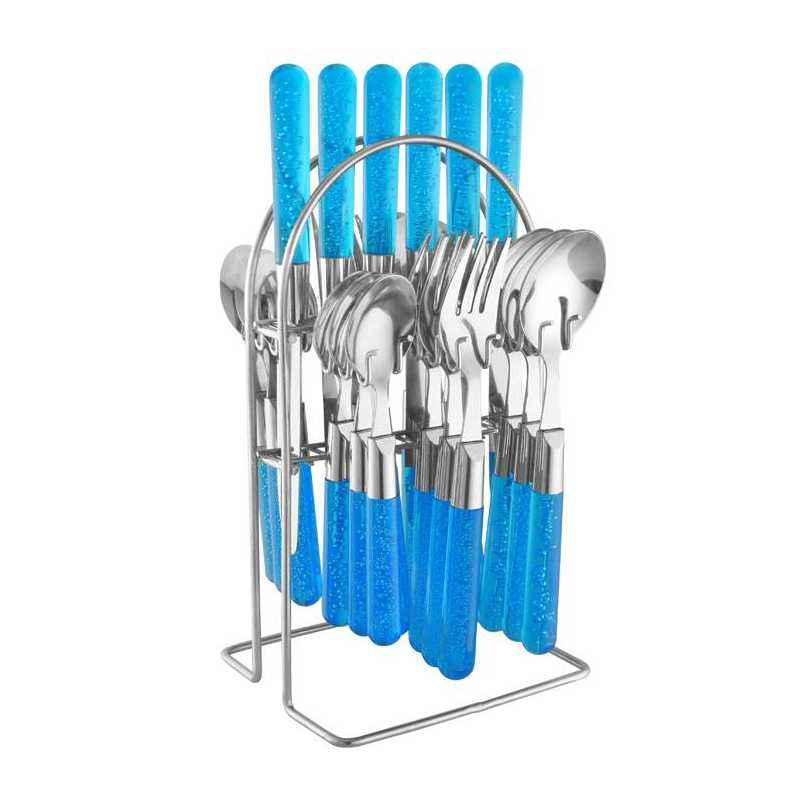 Elegante 24 Pieces Maple Blue Stainless Steel & Plastic Cutlery Set, SL-137B