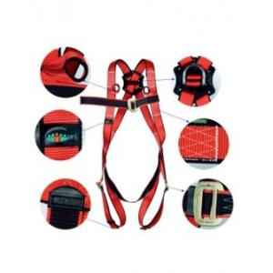 UFS Red & Black Full Body Harness with Polypropylene Lanyard, USP 16-Double USP 210