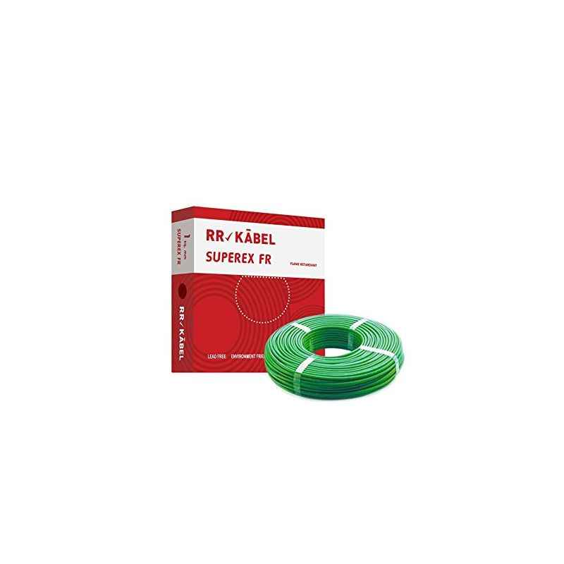 RR Kabel Superex-FR 1 Sq mm Green PVC Insulated Cable, Length: 90 m