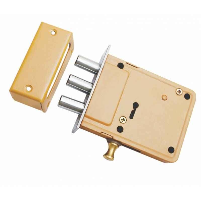 Smart Shophar 4 Inch Brass & Steel Bemark Dead Lock, 54452-SDLB-04