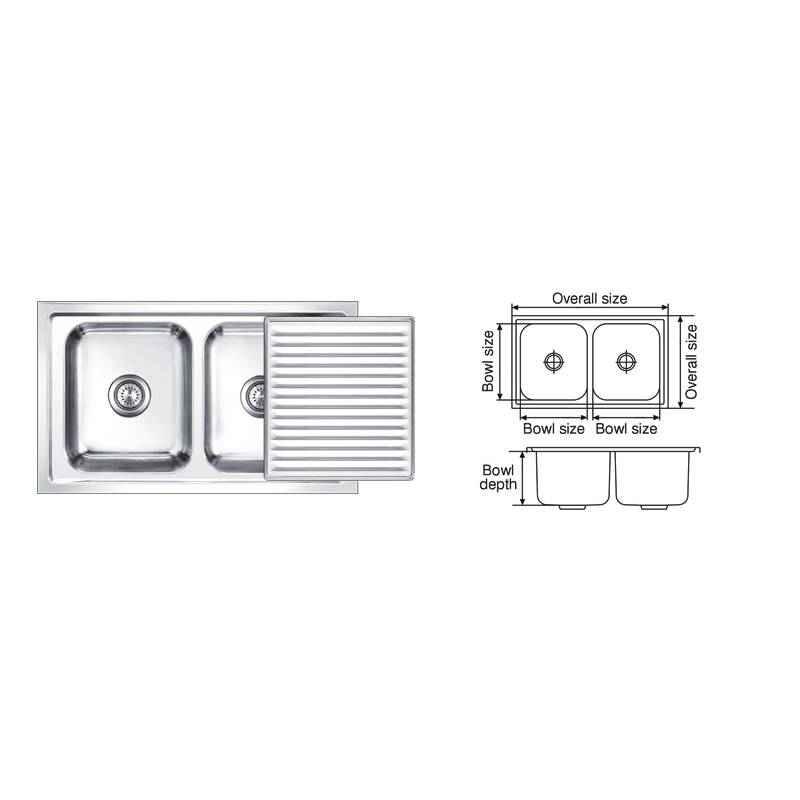 Nirali Super Slider Anti Scratch Finish Kitchen Sink, Size: 850x510 mm