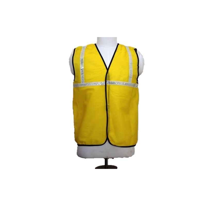 Nova Safe 2 Inch Yellow Net Reflective Safety Jacket, Thickness: 65 GSM