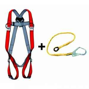 Allen Cooper Red Full Body Polypropylene Harness with 1.8m Rope Lanyard, 1011006_PP18_RLPP206
