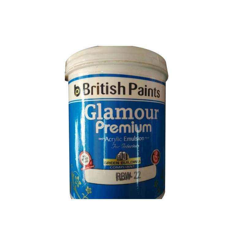 British Paints 1 Litre Base White Glamour Premium Acrylic Emulsion For Interiors, GR-II