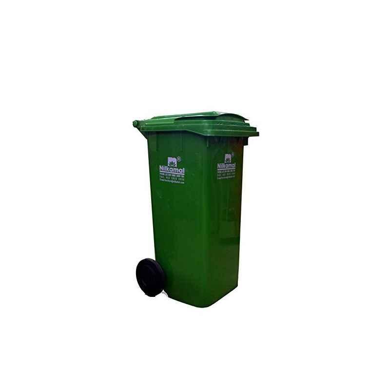 Nilkamal 240 Litre Green Virgin Plastic Wheel Dustbin, WB240L, Dimension: 107x72x58 cm