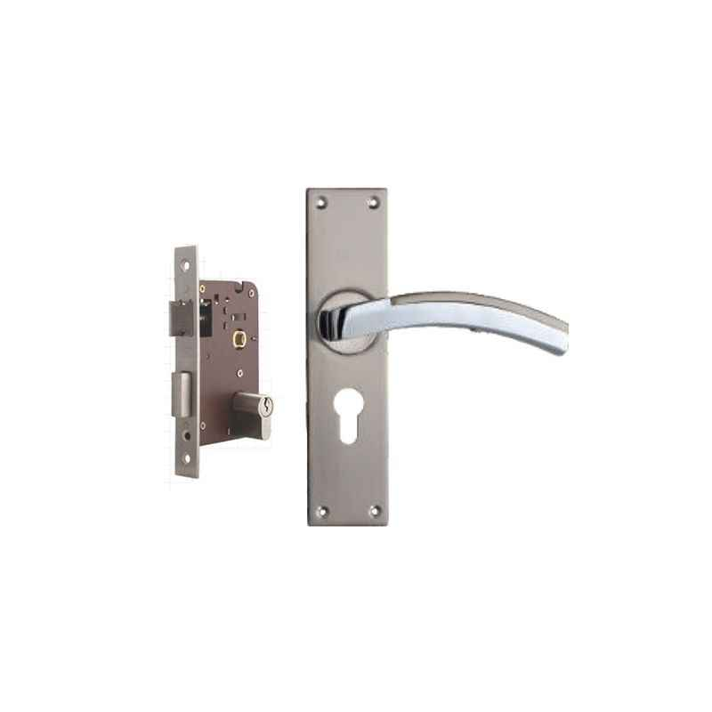 Plaza Jaguar Stainless Steel Finish Handle with 200mm Pin Cylinder Mortice Lock & 3 Keys