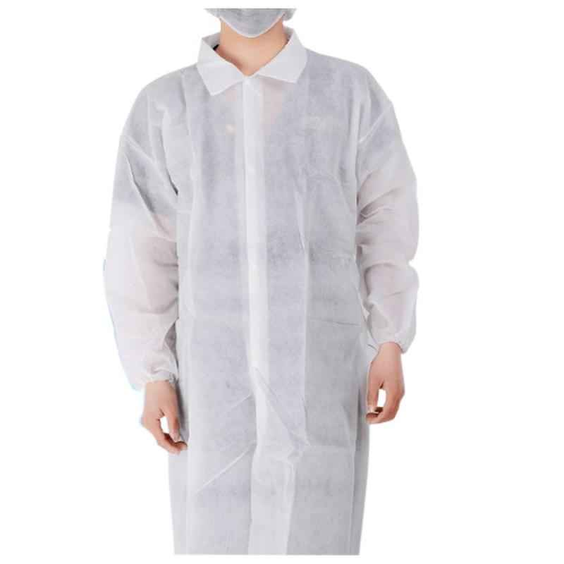 Gripwell 30 GSM White Non Woven Disposable Lab Coat (Pack of 30)
